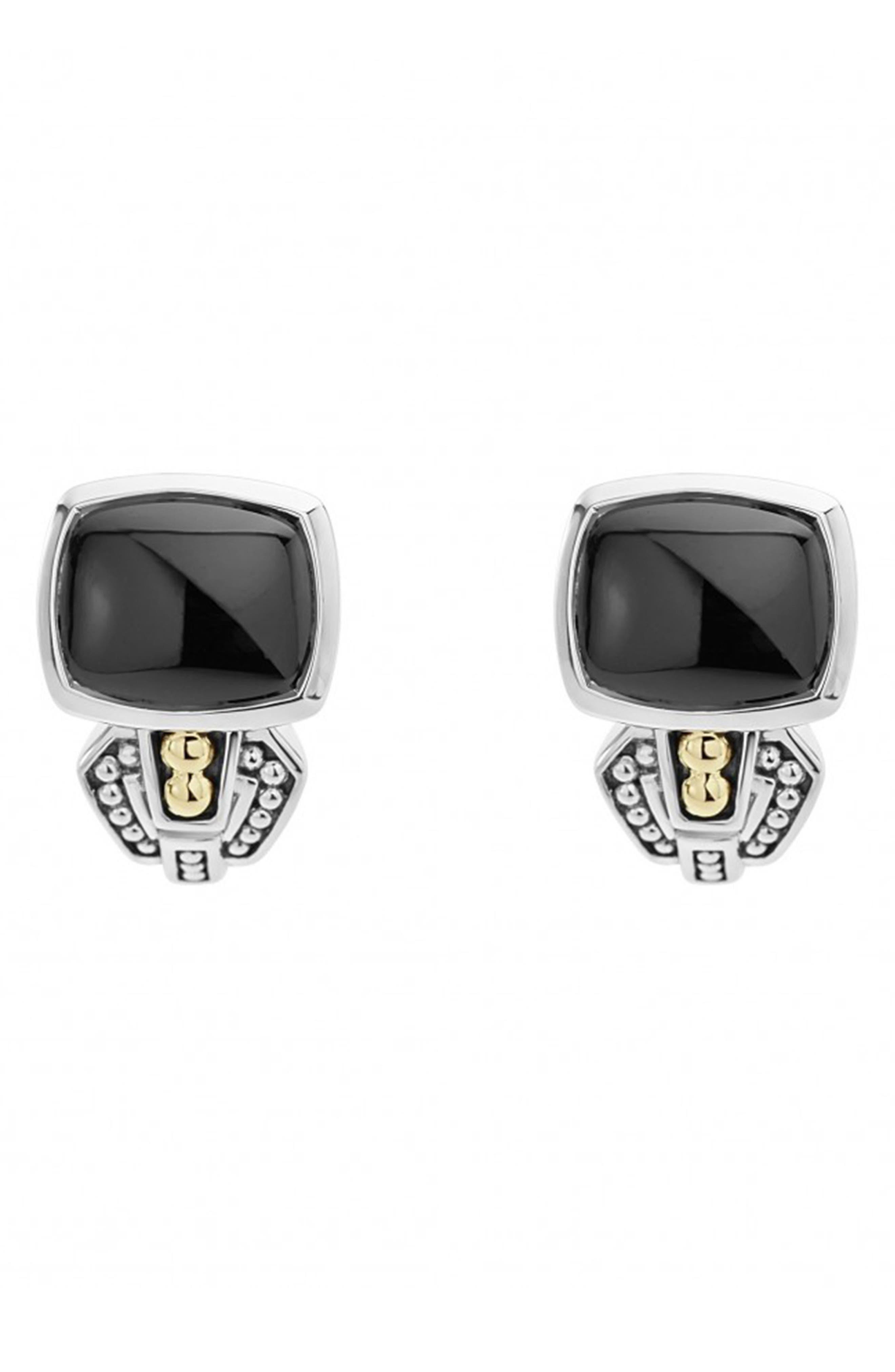 'Caviar Color' Semiprecious Stone Stud Earrings, Main, color, BLACK ONYX