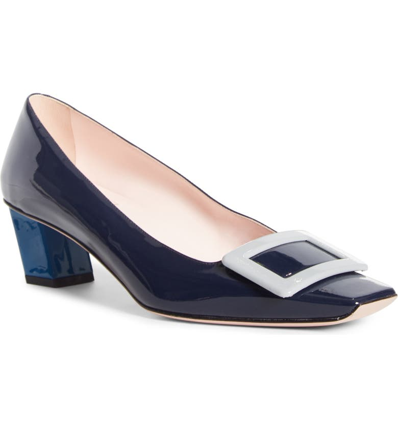 ROGER VIVIER Belle Vivier Colorblock Pump, Main, color, NAVY BLUE