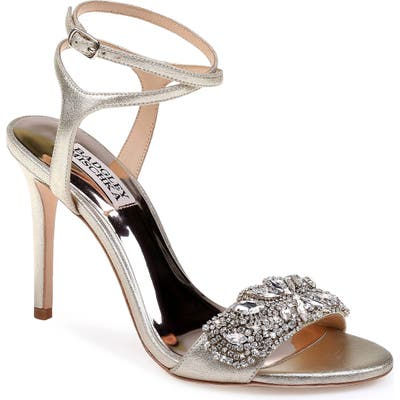 Badgley Mischka Hailey Embellished Ankle Strap Sandal- Metallic