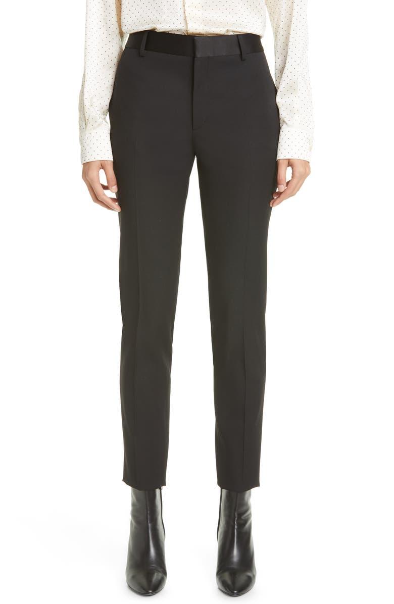 SAINT LAURENT Wool High Waist Slim Ankle Pants, Main, color, NOIR