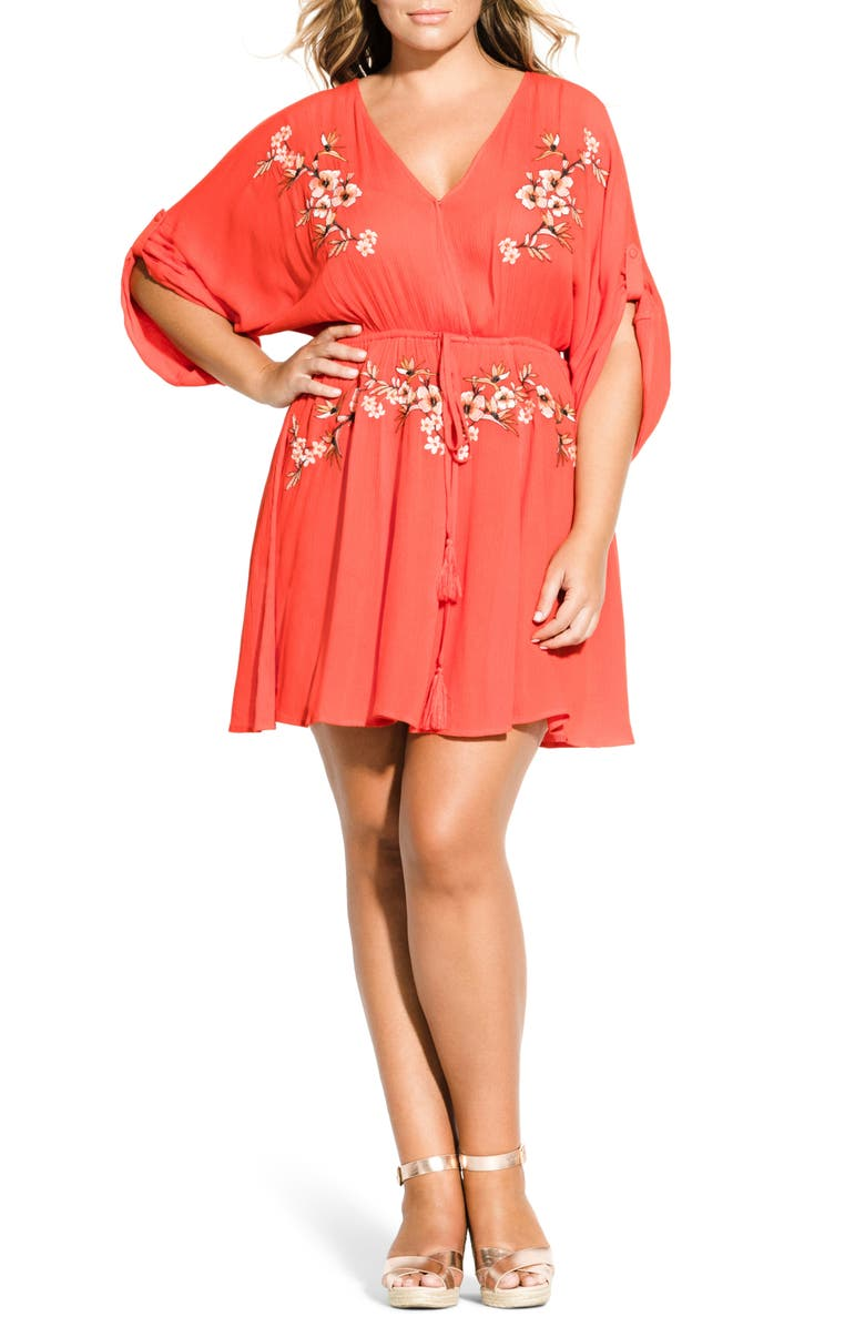 CITY CHIC Seville Tunic Dress, Main, color, TIGERLILLY