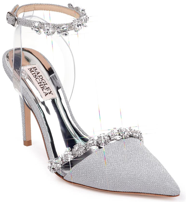 BADGLEY MISCHKA COLLECTION Badgley Mischka Adelina Ankle Strap Pump, Main, color, SILVER GLITTER FABRIC
