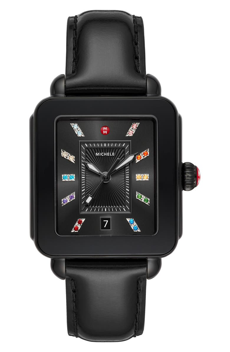 MICHELE Deco Sport Watch Head & Silicone Strap Watch, 34mm x 36mm, Main, color, BLACK