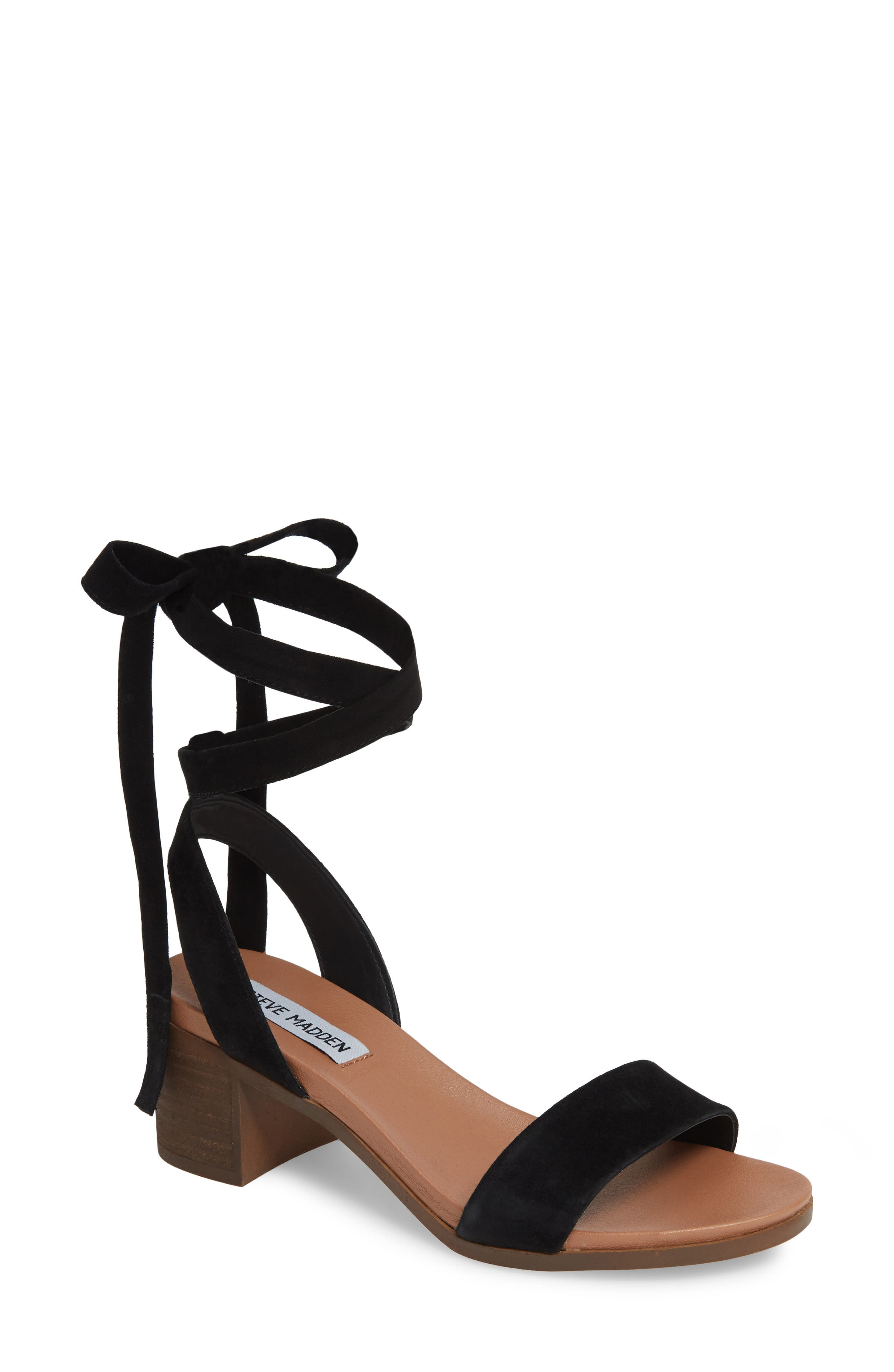 Adrianne Ankle Wrap Sandal, Main, color, BLACK SUEDE