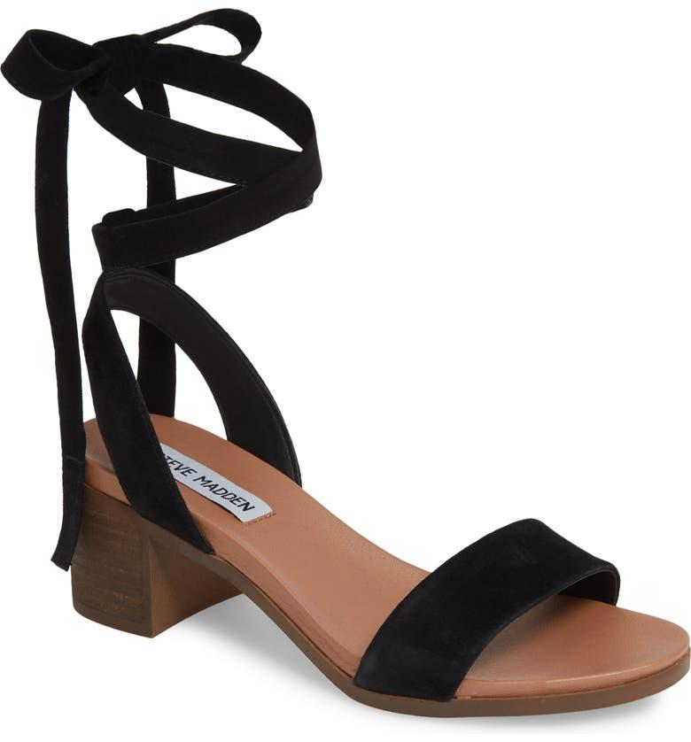 STEVE MADDEN Adrianne Ankle Wrap Sandal, Main, color, 006