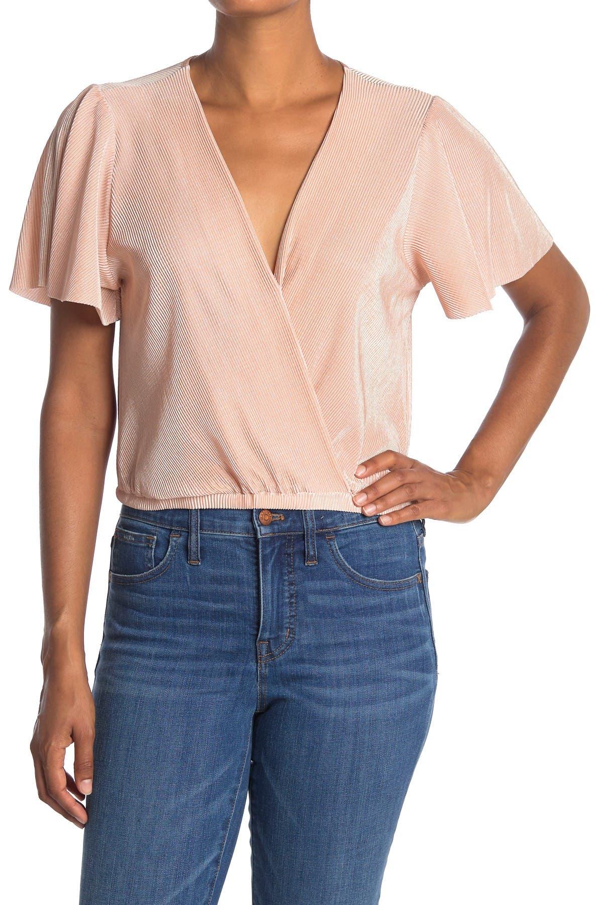 Image of ASTR the Label Short Sleeve Plisse Top