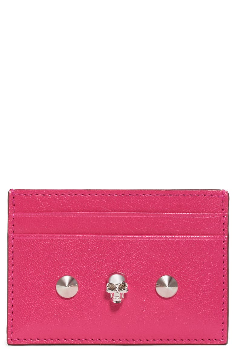 ALEXANDER MCQUEEN Skull & Studs Leather Card Case, Main, color, ORCHID PINK/ NEW RED