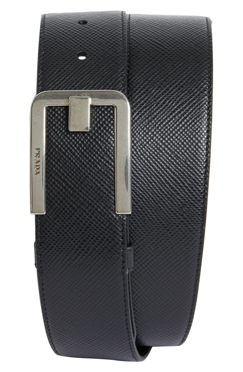 PRADA Saffiano Leather Belt, Main, color, 001