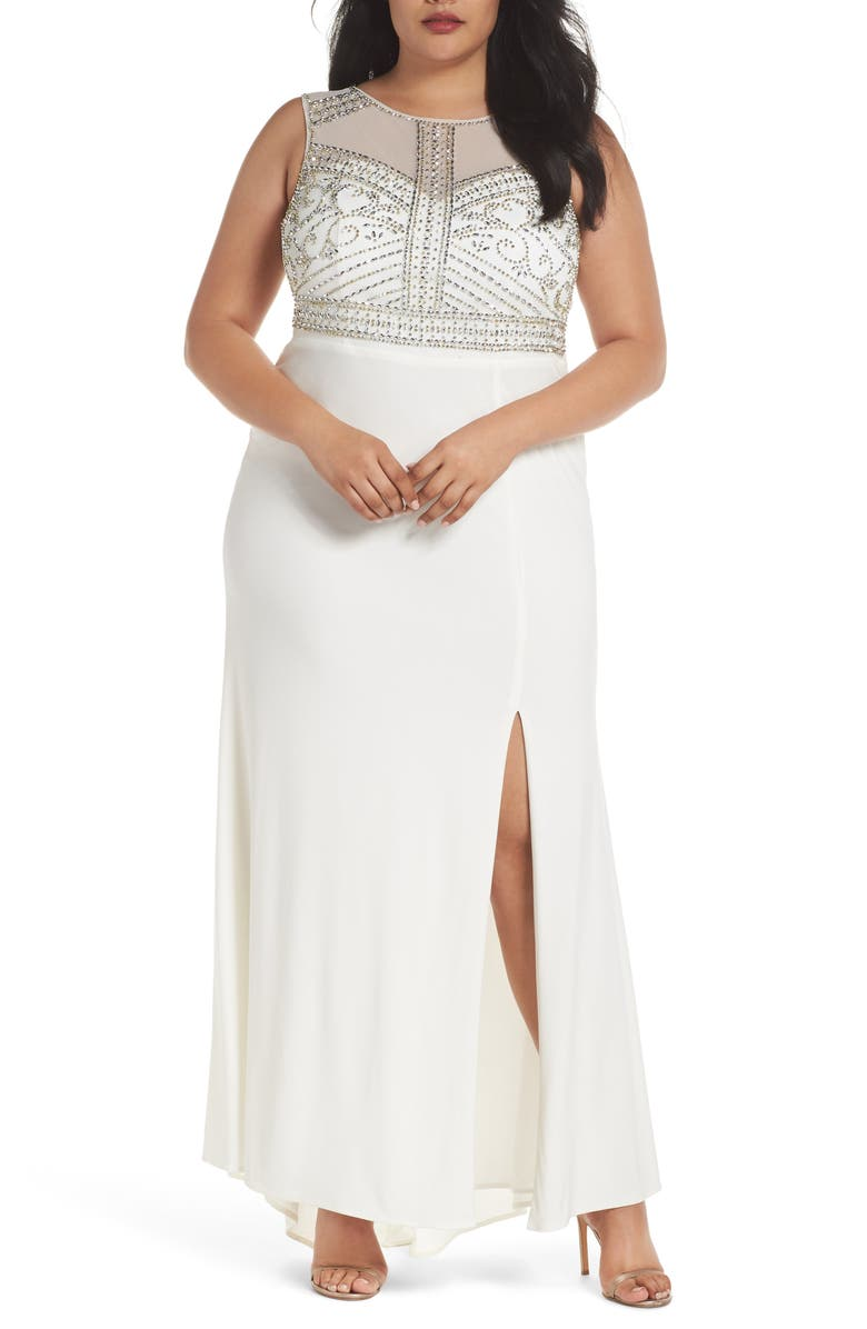 Beaded Sheer Back Gown