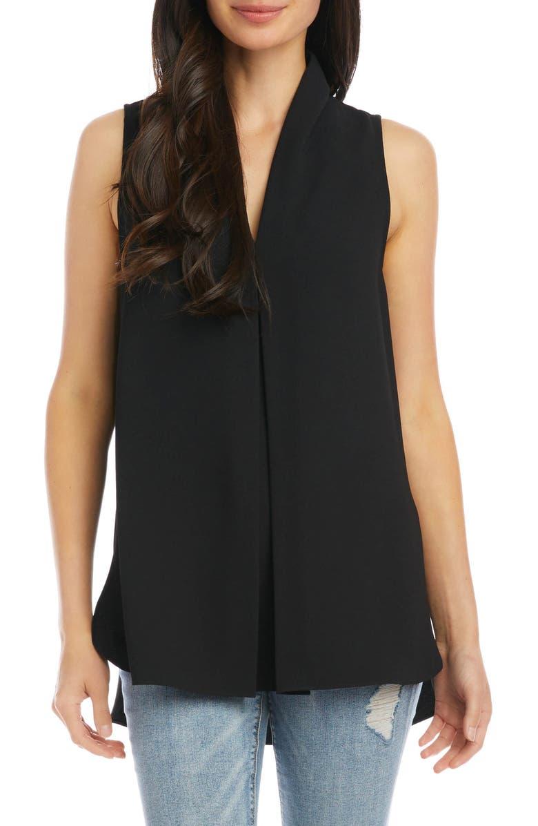 KAREN KANE Front Pleat Sleeveless Crepe Blouse, Main, color, BLACK