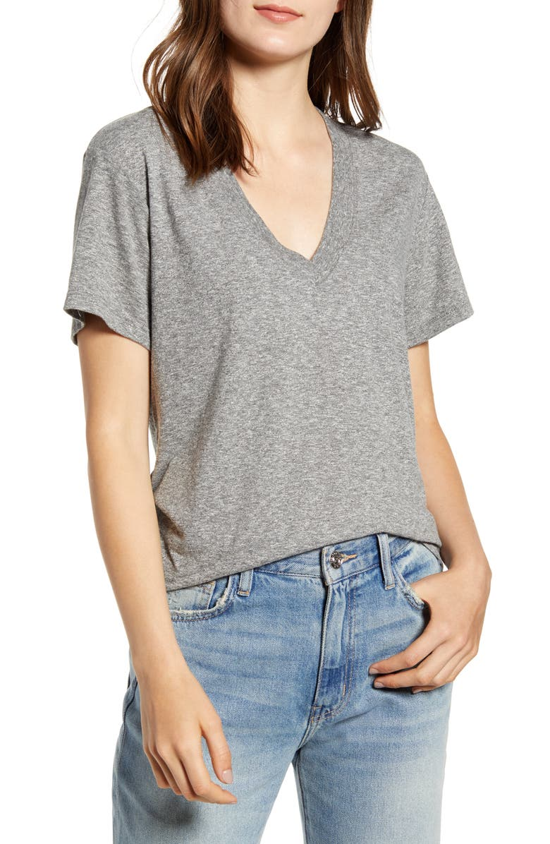 CURRENT/ELLIOTT The Perfect V-Neck Tee, Main, color, HEATHER GREY