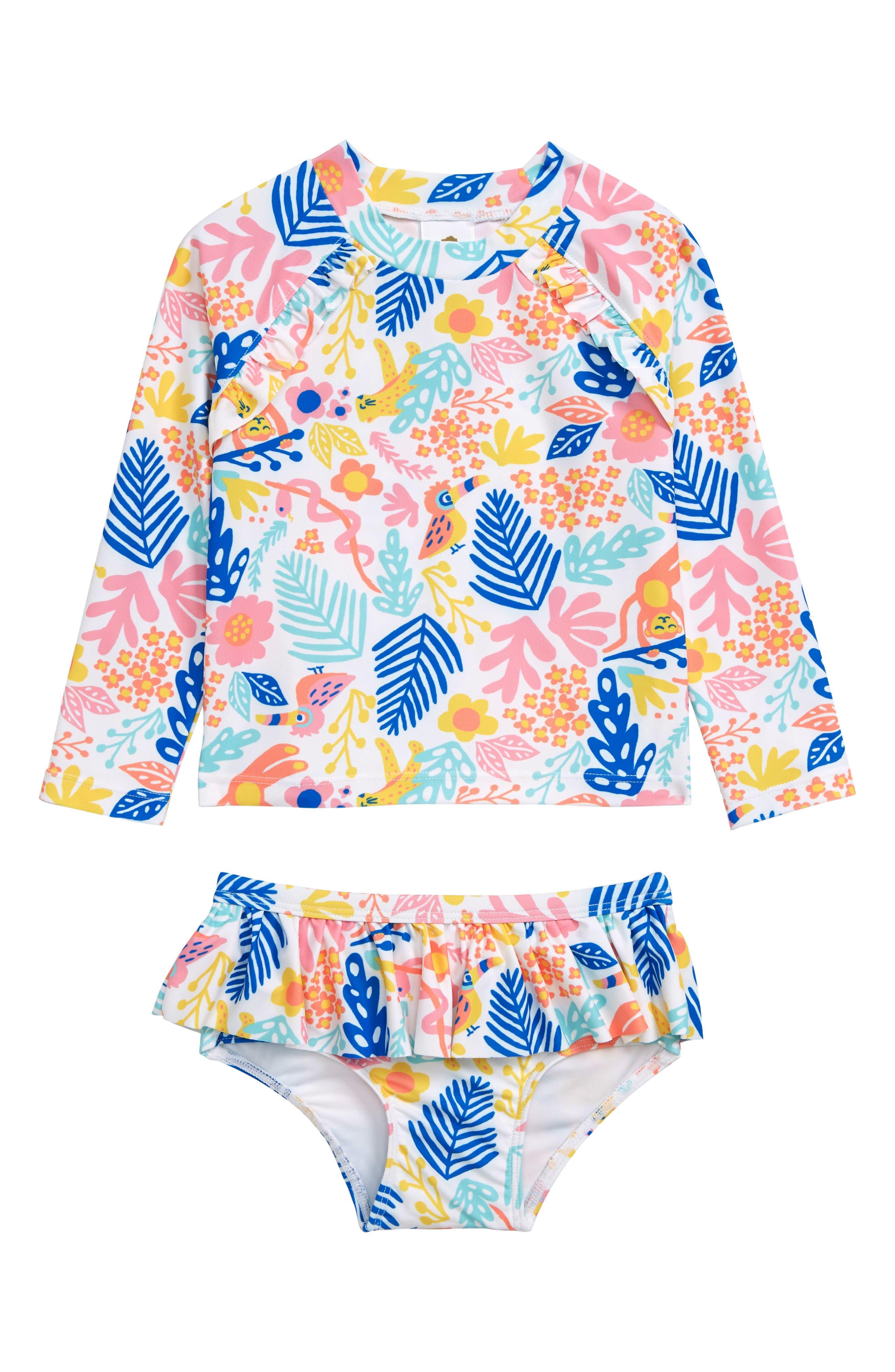 Two-Piece Ruffle Rashguard Swimsuit, Main, color, WHITE- PINK JUNGLE