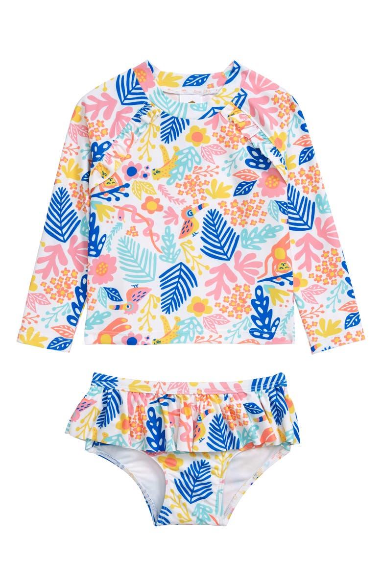 TUCKER + TATE Two-Piece Ruffle Rashguard Swimsuit, Main, color, 100