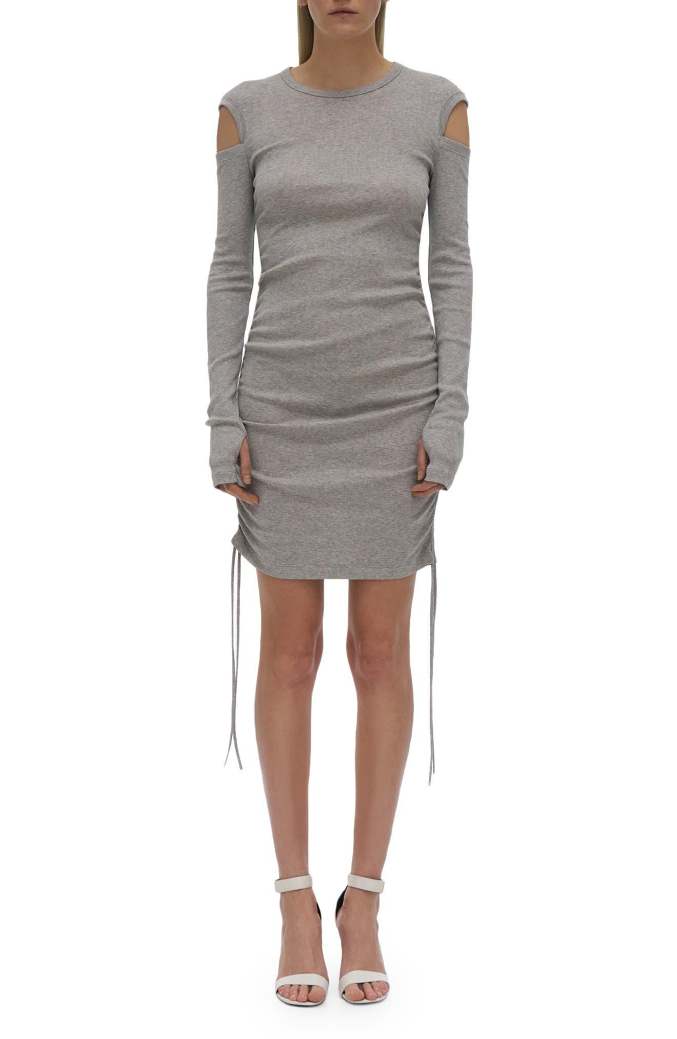Cold Shoulder Long Sleeve Cotton Dress