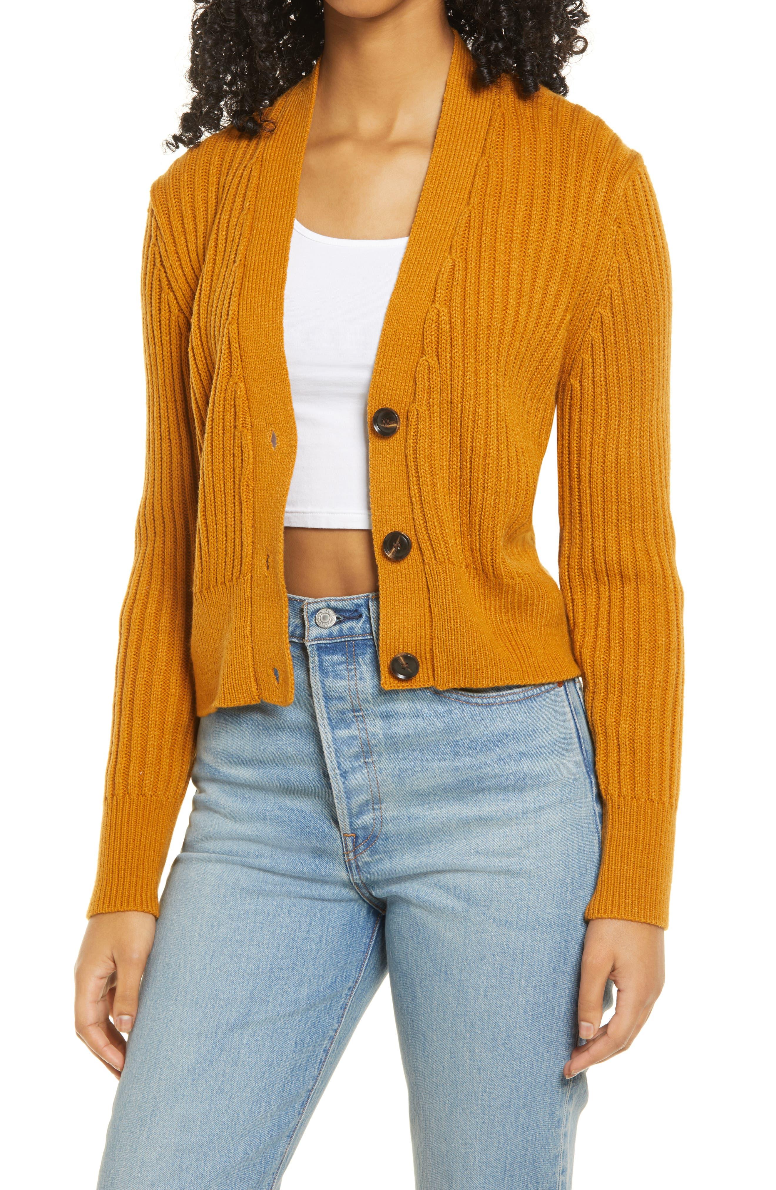 60s Shirts, T-shirts, Blouses, Hippie Shirts Womens Lulus Rib Crop Cardigan Size X-Large - Brown $52.00 AT vintagedancer.com