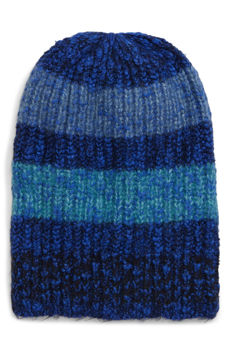 FREE PEOPLE Cozy In Stripes Beanie, Main, color, NAVY