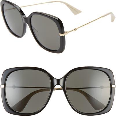 Gucci 57Mm Square Sunglasses - Black/ Black/ Gold