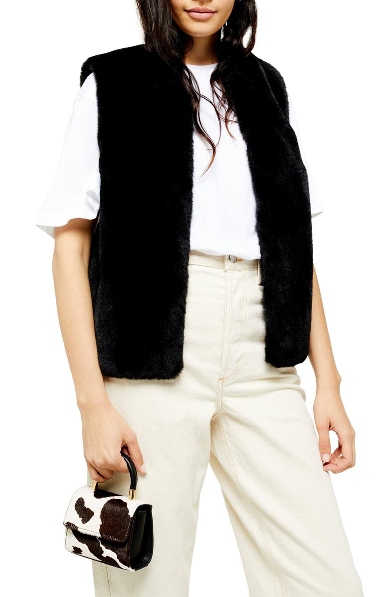 TOPSHOP Luxe Faux Fur Vest, Main, color, 001