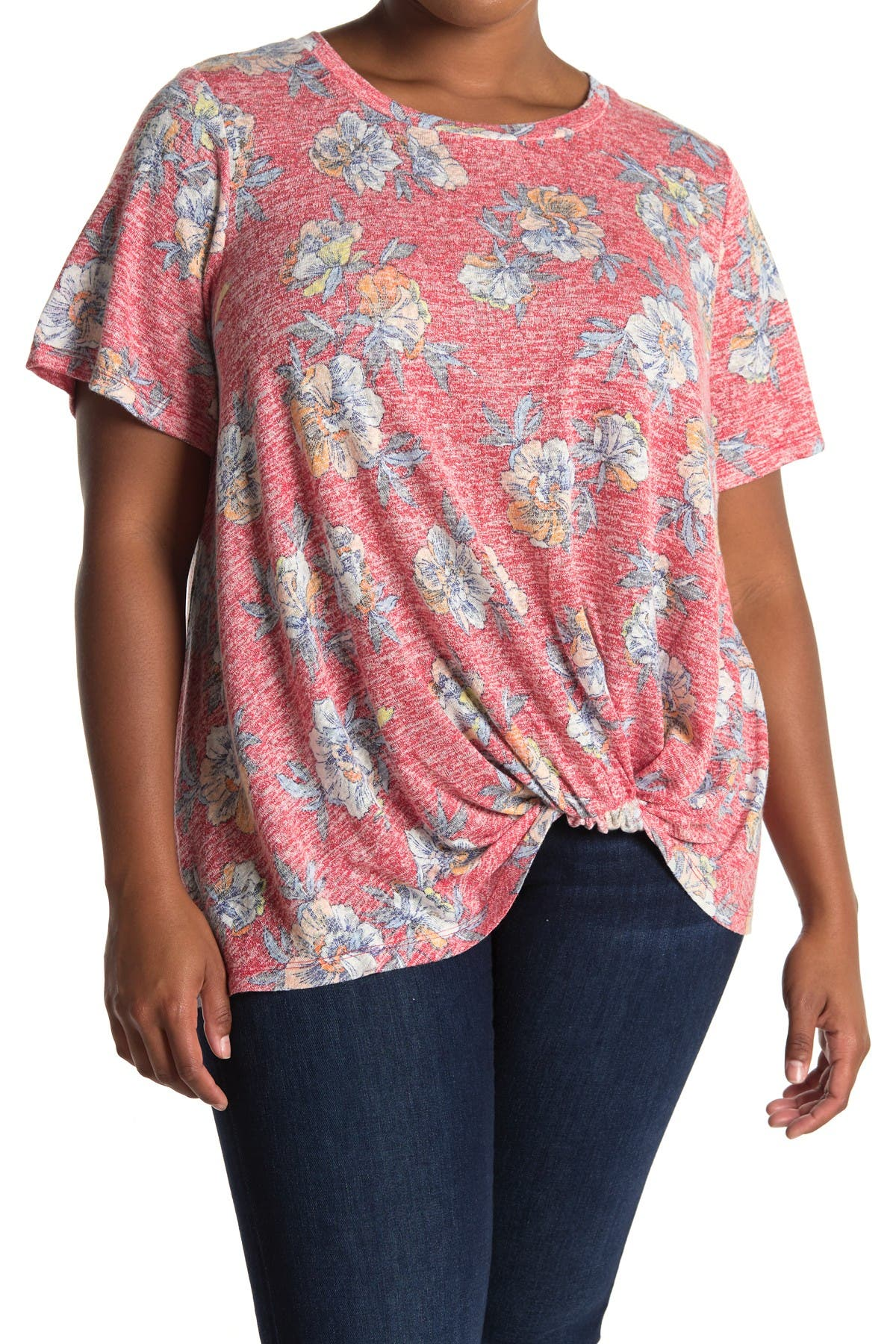 Image of Bobeau Short Sleeve Knotted Top