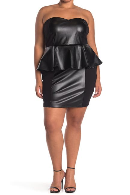 Image of Curvy Sense Faux Leather Peplum Dress