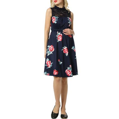 Kimi And Kai Cindy Lace Yoke Floral Maternity Dress, Blue