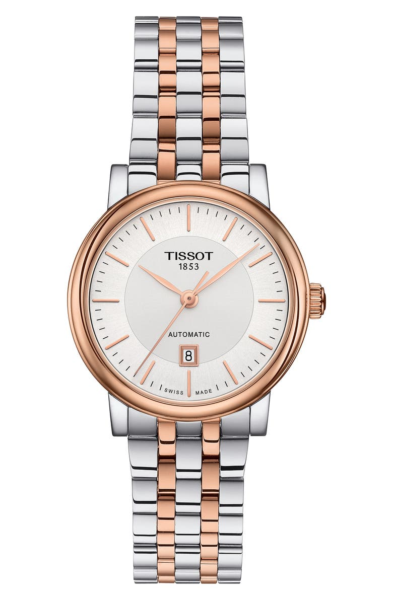TISSOT Carson Premium Lady Bracelet Watch, 30mm, Main, color, SILVER/ ROSE GOLD