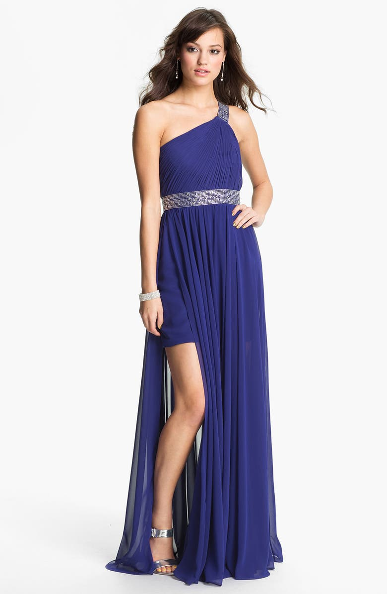 JS BOUTIQUE One Shoulder Embellished Chiffon Gown, Main, color, 408