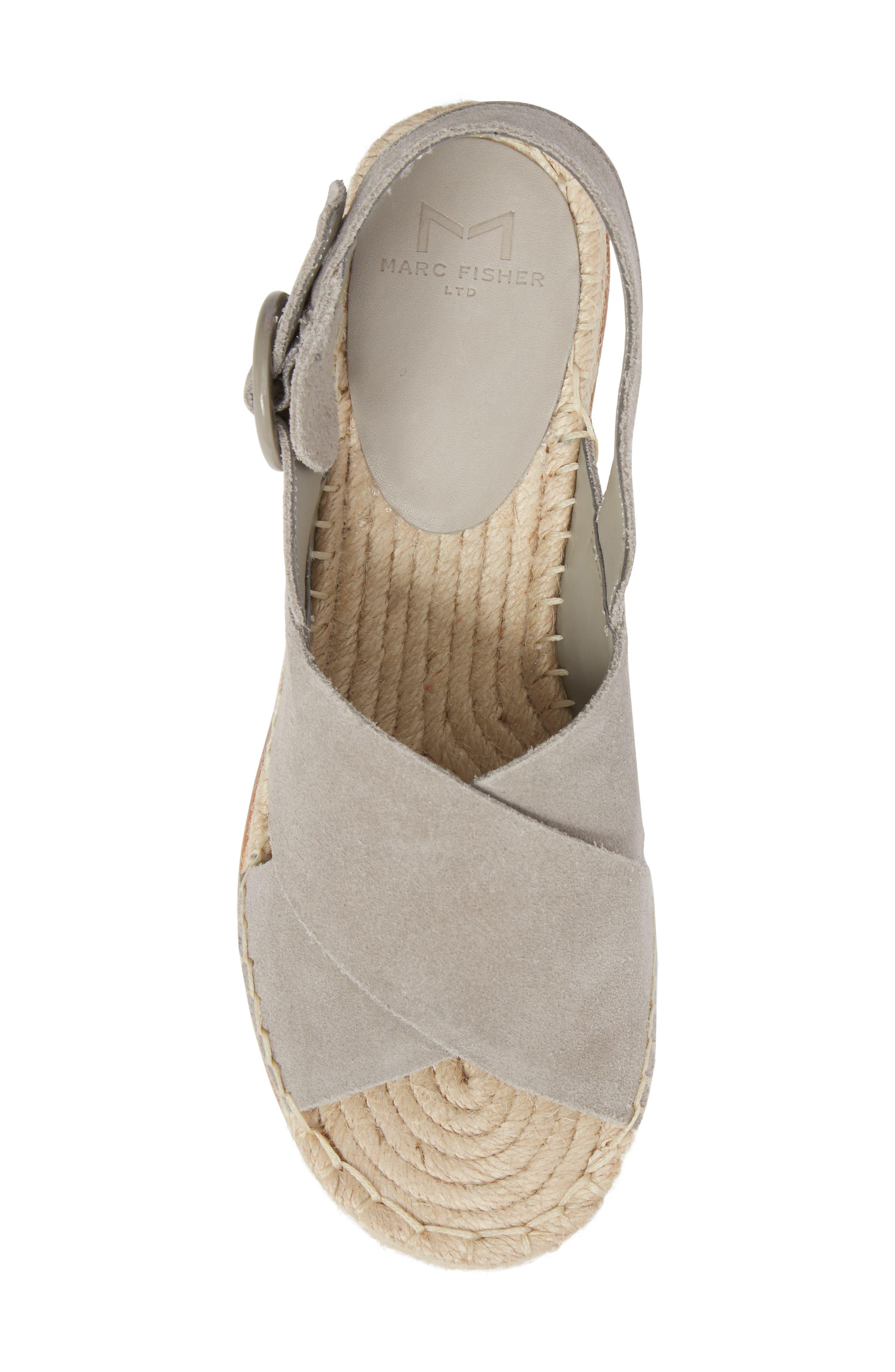 ,                             Glenna Platform Slingback Sandal,                             Alternate thumbnail 5, color,                             GREY SUEDE
