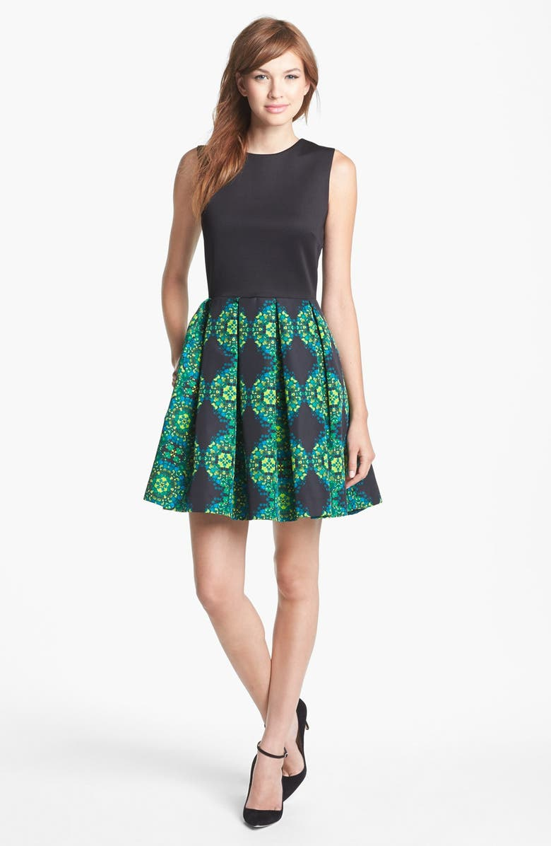 Taylor Dresses Mixed Media Fit Amp Flare Dress Nordstrom