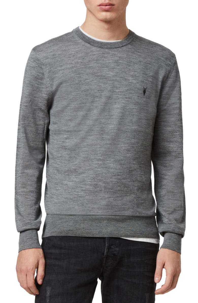 ALLSAINTS Mode Slim Fit Merino Wool Sweater, Main, color, GREY MARL