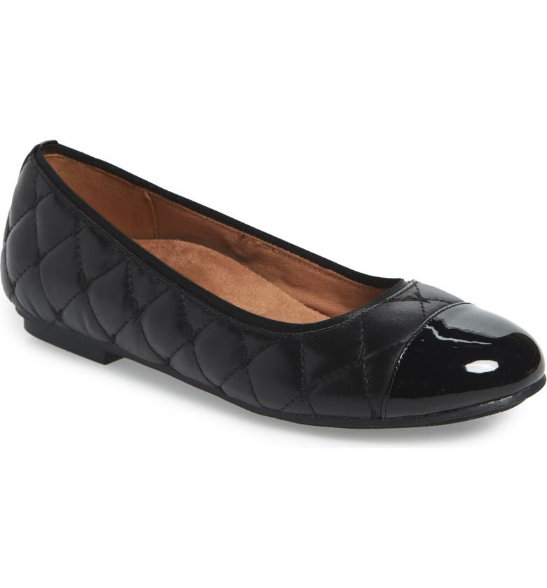 VIONIC Desiree Flat, Main, color, BLACK LEATHER