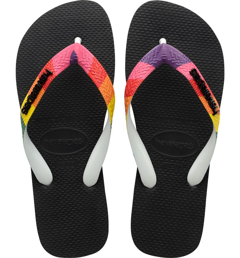 HAVAIANAS Top Pride Strap Flip Flop, Main, color, BLACK