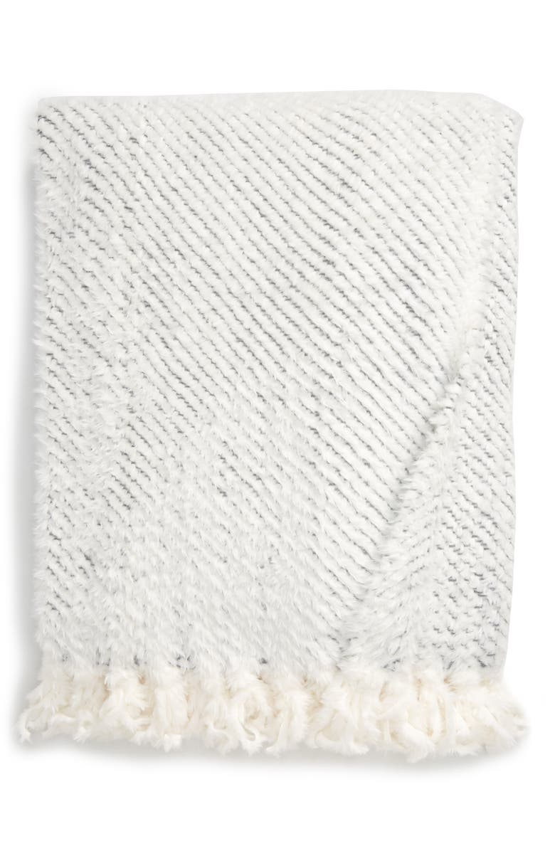 RACHEL PARCELL Plume Faux Fur Throw Blanket, Main, color, IVORY