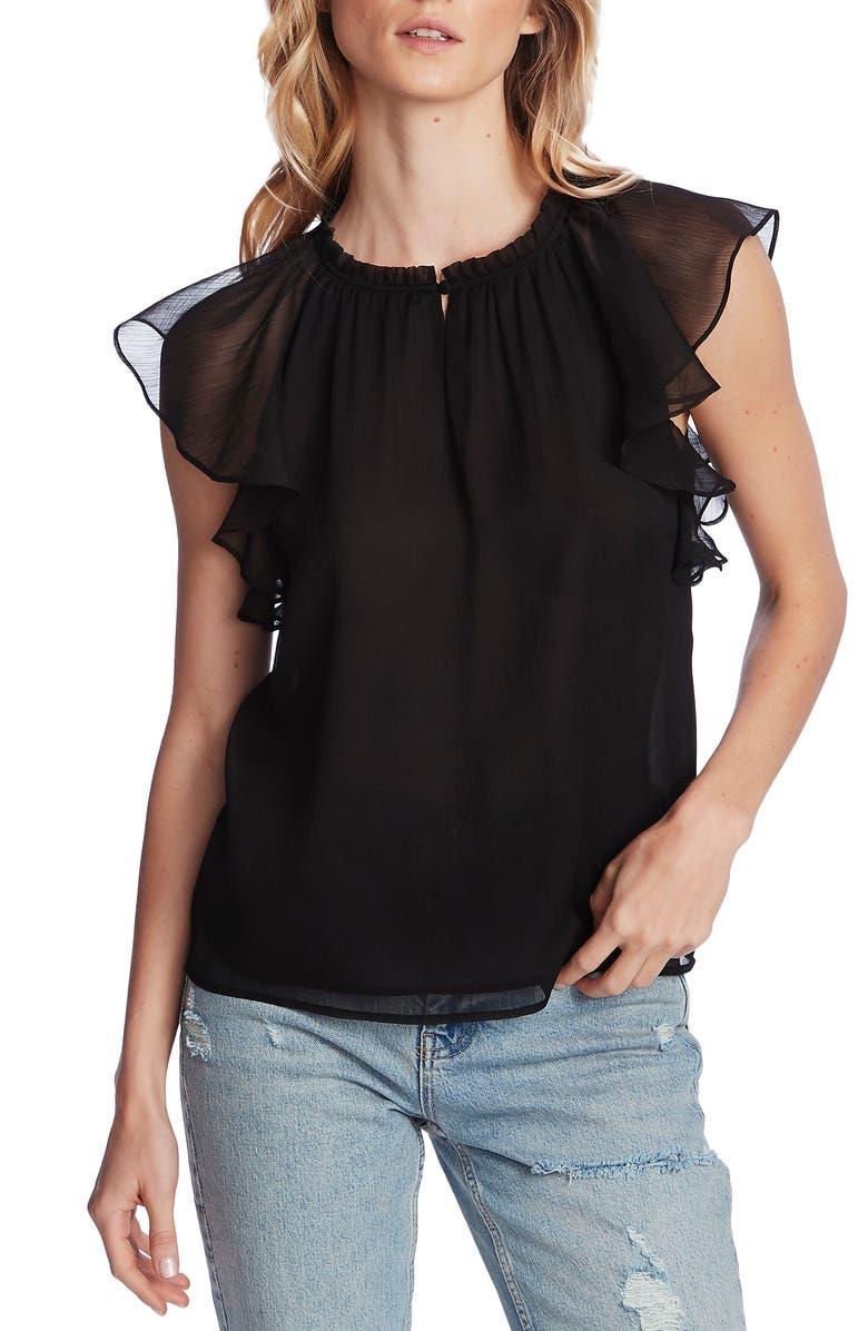 1.STATE Flutter Sleeve Keyhole Top, Main, color, RICH BLACK