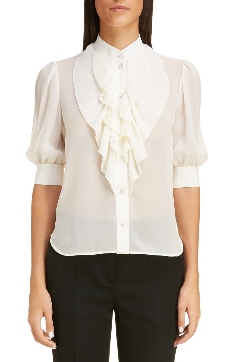 GIVENCHY Pleated Bib Silk Georgette Blouse, Main, color, OFF WHITE