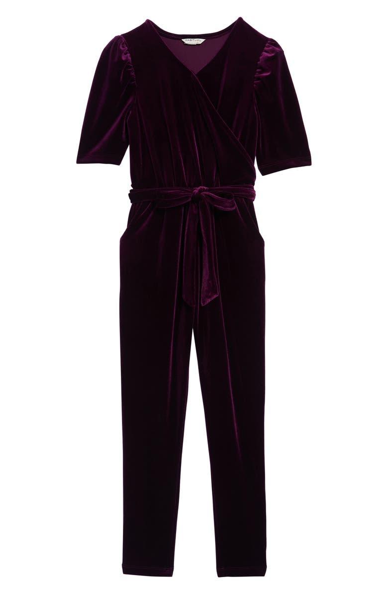 HABITUAL Brielle Faux Wrap Velvet Jumpsuit, Main, color, PURPLE