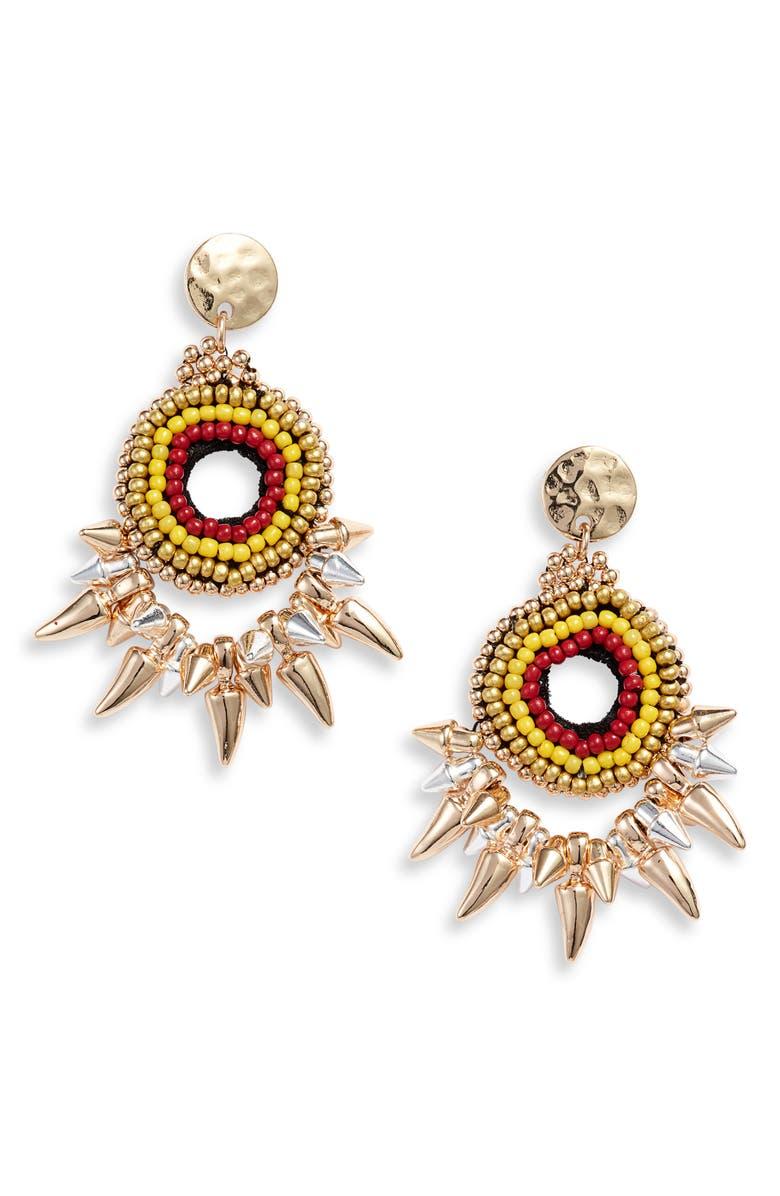 KNOTTY Beaded Drop Earrings, Main, color, GOLD/ MULTI