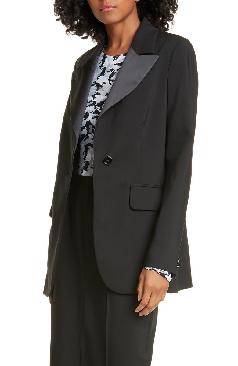 MM6 MAISON MARGIELA Satin Lapel Wool Jacket, Main, color, BLACK