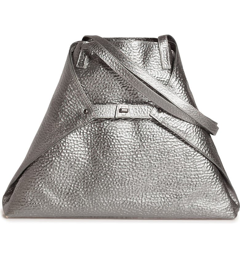 AKRIS AI Medium Hammered Metallic Leather Tote Bag, Main, color, INOX
