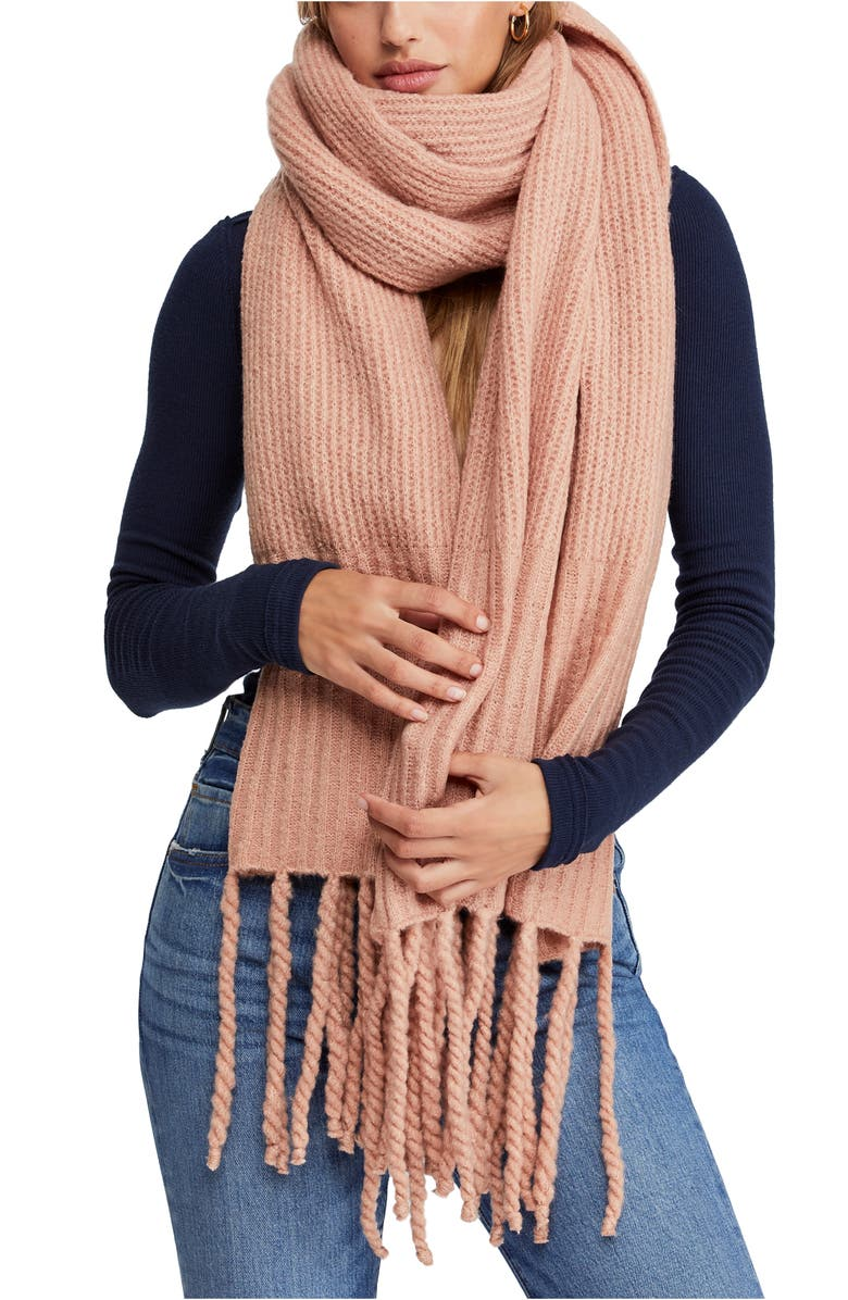FREE PEOPLE Jaden Rib Knit Blanket Scarf, Main, color, PINK