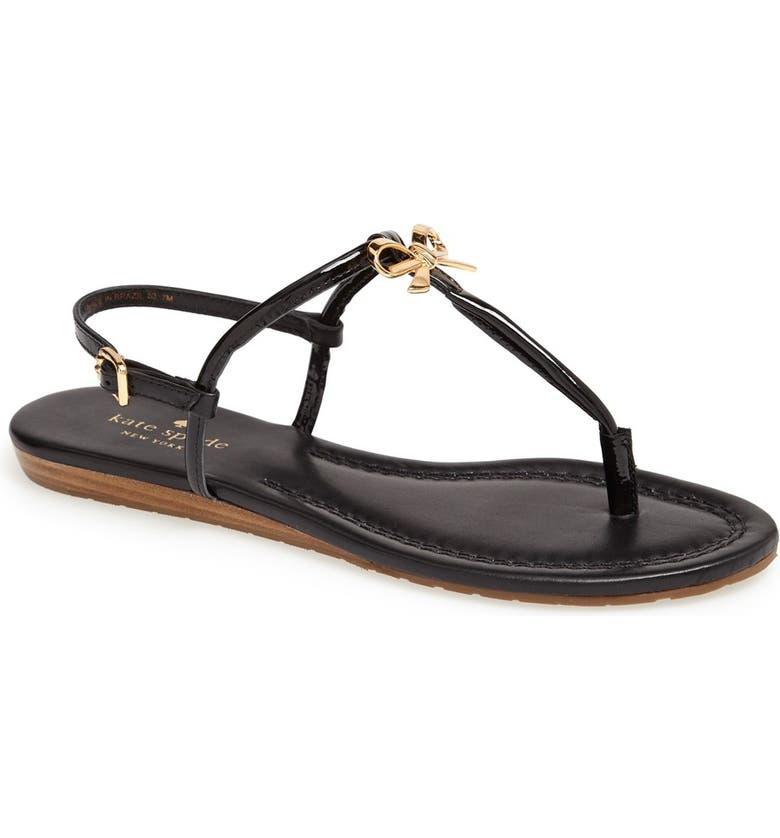 KATE SPADE NEW YORK 'tracie' sandal, Main, color, BLACK PATENT/ NAPPA