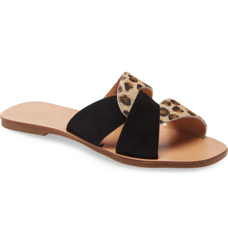 SEYCHELLES Ray of Sunshine Slide Sandal, Main, color, LEOPARD PONY/ BLACK SUEDE