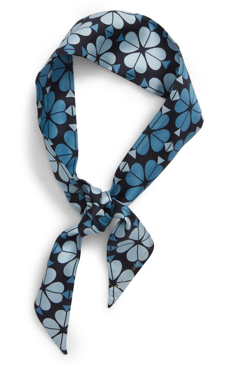 KATE SPADE NEW YORK flower spade skinny silk scarf, Main, color, BLAZER BLUE