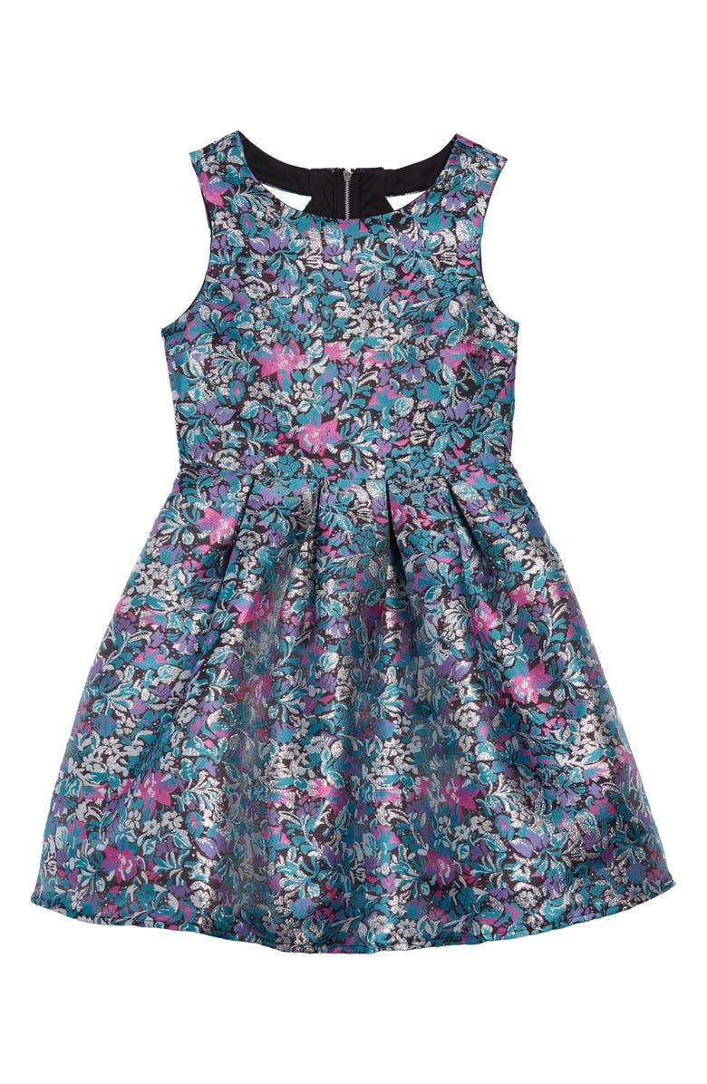 TRIXXI Metallic Jacquard Party Dress, Main, color, 650