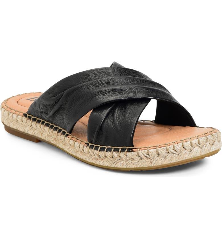 BØRN San Gabriel Espadrille Slide Sandal, Main, color, BLACK LEATHER