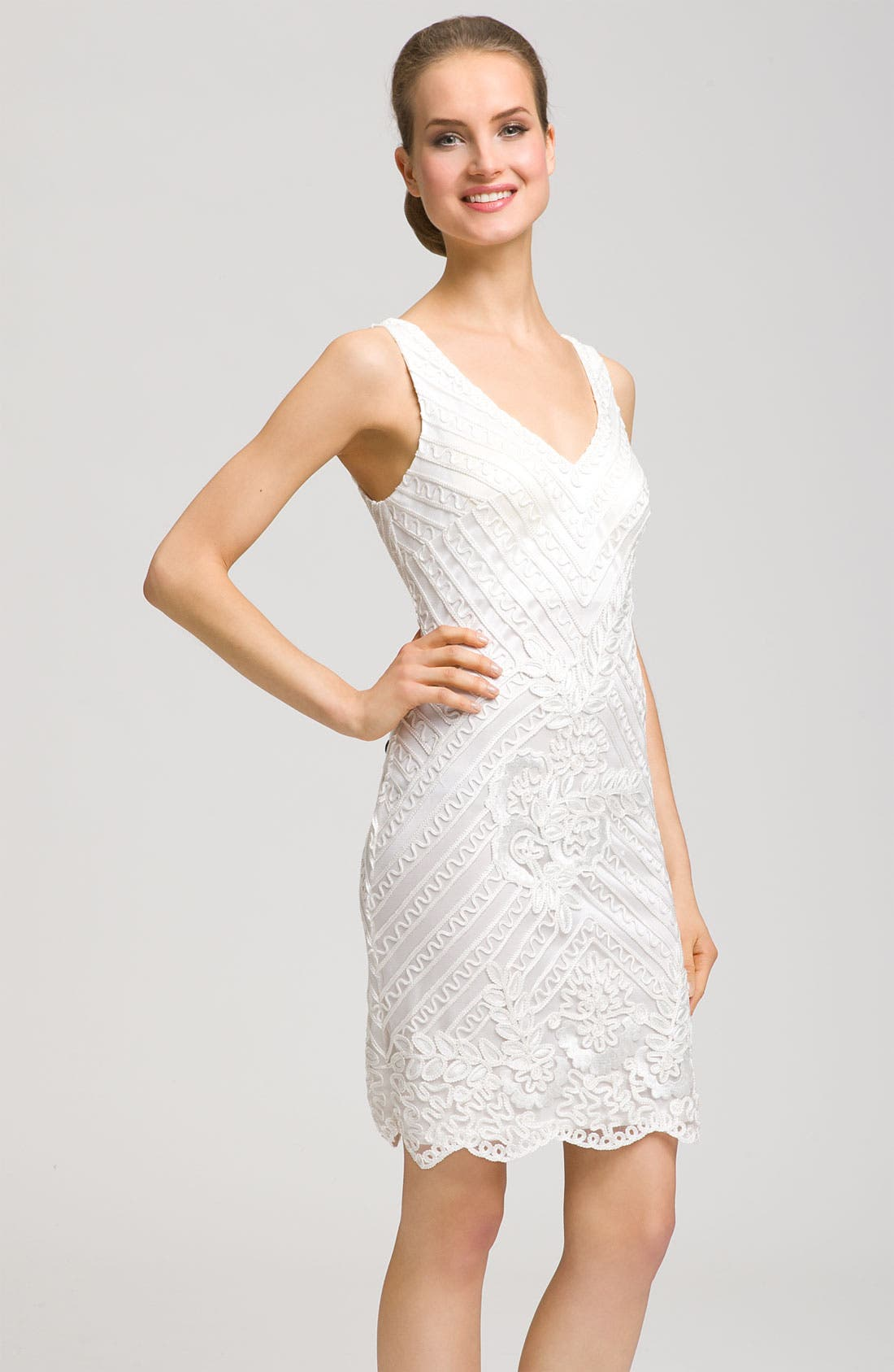 Double V-Neck Embroidered Sheath Dress, Main, color, 100