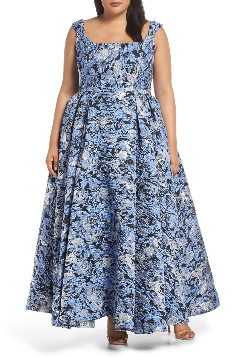 MAC DUGGAL Jacquard Ballgown, Main, color, STORMY BLUE