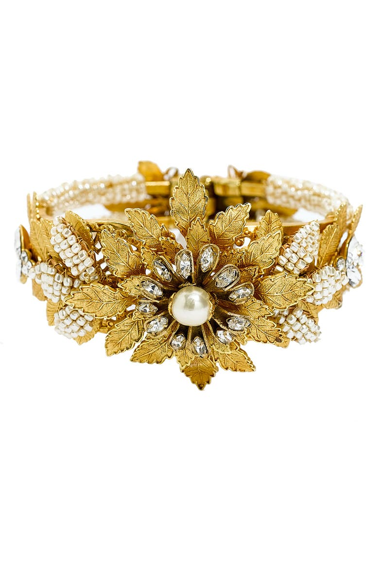 MIRIAM HASKELL 'Legacy' Floral & Glass Pearl Hinged Cuff, Main, color, 710