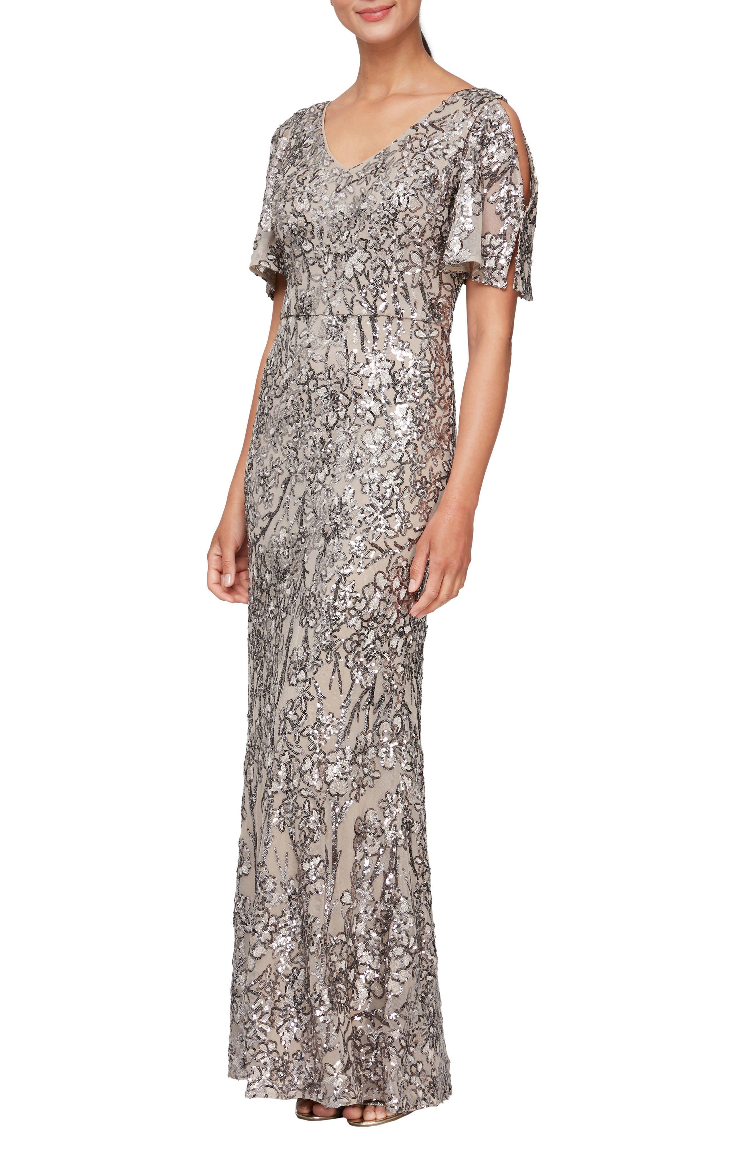 Sequin Lace Cold Shoulder Trumpet Gown