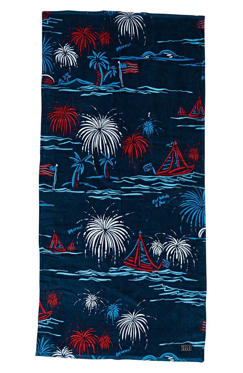 BILLABONG Waves Beach Towel, Main, color, MIDNIGHT